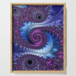 Feathery Flow - Fractal Art Serving Tray