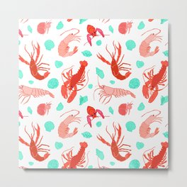 Dance of the Crustaceans in Pearl White Metal Print