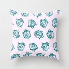 Royal Gator - Ocean on Pink Throw Pillow