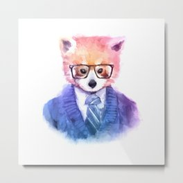 Cute fashion hipster animals pets red panda Metal Print