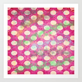 Background with paper texture and polka dot pattern with colorful spots Art Print