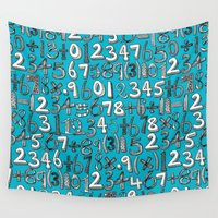 math Wall Tapestries featuring math doodle blue by Sharon Turner