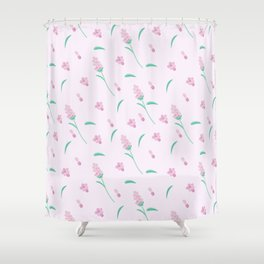 Modern blush pink coral green abstract floral illustration Shower Curtain