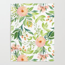 Happy Coral Pink + Green Rose Garden Poster
