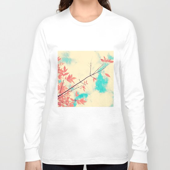 Pink fall leafs on retro vintage sky  Long Sleeve T-shirt