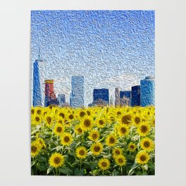New York City Skyline Oil Paint View from Sunflower Field Poster