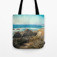 big sur Tote Bags featuring Big Sur - Bonafide by Jenndalyn