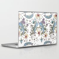 narwhal Laptop & iPad Skins featuring Narwhal pattern by Brooke Weeber