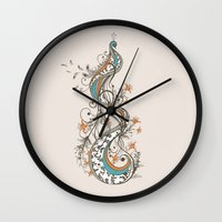 peacock Wall Clocks featuring Peacock by Tracie Andrews