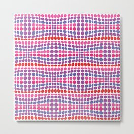 Dottywave - Red Pink Purple wave dots pattern Metal Print