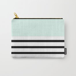 Pinstripe Color Block (Mint) Carry-All Pouch