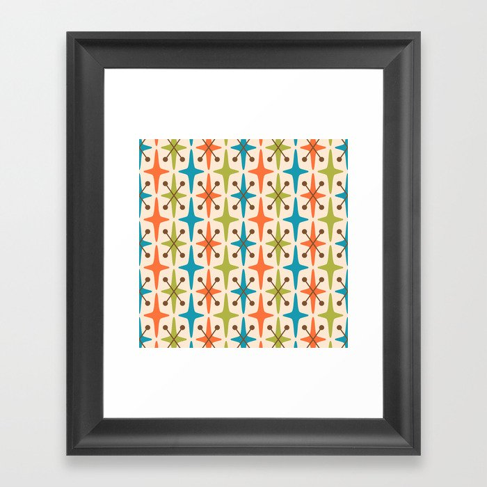 Mid Century Modern Abstract Star Pattern 441 Orange Brown Turquoise Chartreuse Gerahmter Kunstdruck