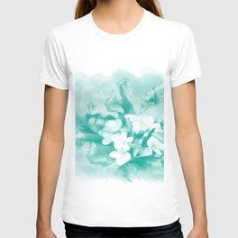 Butterflies and tropical flowers in stunning teal T-shirt