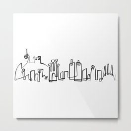 Barcelona Skyline in one draw Metal Print