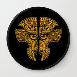 Yellow and Black Aztec Twins Mask Illusion Wall Clock