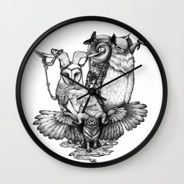 Goatowls (In B&W) Wall Clock