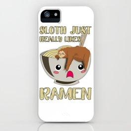 Sloth Ramen Bowl Kawaii Miso Soup iPhone Case