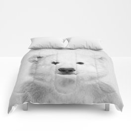 Polar Bear - Black & White Comforters