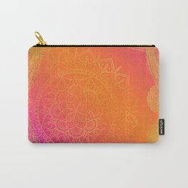 Fuchsia Pink Orange & Gold Indian Mandala Glam Carry-All Pouch