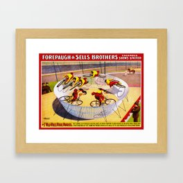Vintage Bicycle Circus Act Framed Art Print