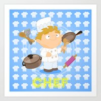 chef Art Prints featuring Chef by Alapapaju