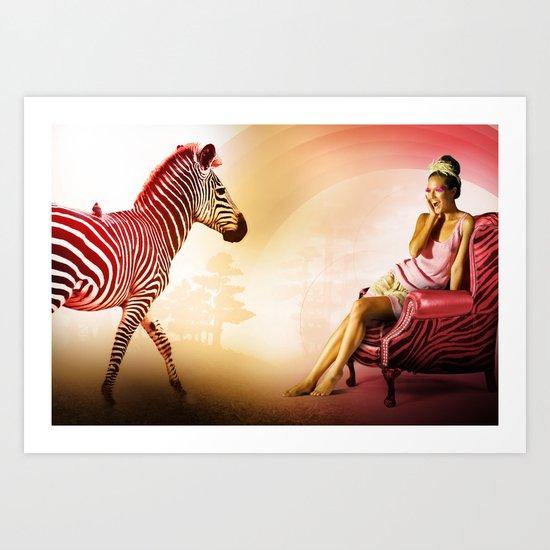 Red Zebra Art Print