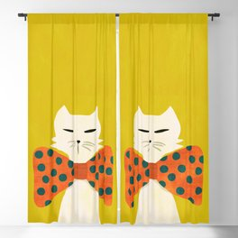 Cat with incredebly oversized humongous bowtie Blackout Curtain