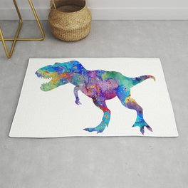Dinosaur T-Rex Tyrannosaurus Rex Art Animals Nursery Decor Kids Room Watercolor Print Blue Purple Di Rug