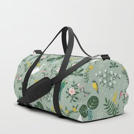 """Tropical Birds and Flowers"" on Sage Green by Bex Morley Duffle Bag"