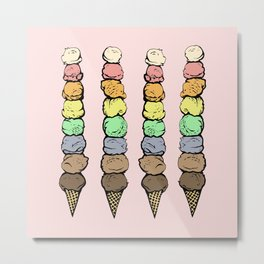 Giant Rainbow Ice Cream Cones Metal Print