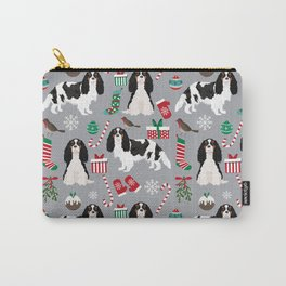 Cavalier King Charles Spaniel black and white christmas dog gifts pet friendly Carry-All Pouch