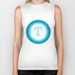 Blue letter T Biker Tank