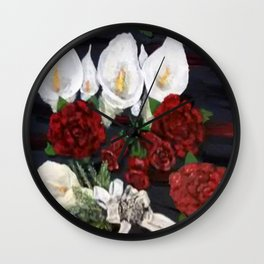 Lillies ad Roses Wall Clock