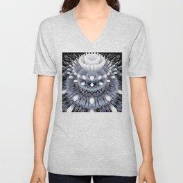 3D layers of mandala in blue-white-grey-black Unisex V-Neck