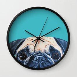 Wide Eyed Pug Wall Clock