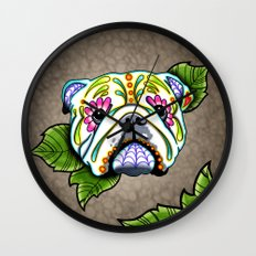 Day of the Dead English Bulldog Sugar Skull Dog Wall Clock