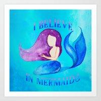 I Believe in Mermaids - Galactic Purple Blue Mermaid Art Print