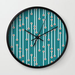 Dotted Lines in Teal, White and Coral Wall Clock