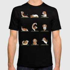 Beagle Yoga Mens Fitted Tee Black SMALL