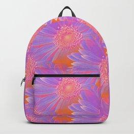 Gerbera Flower Pattern in Purple And Orange Backpack