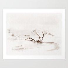 Scots Pine Sepia Art Print