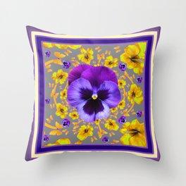 PUCE PANSIES YELLOW BUTTERFLIES & FLOWERS Throw Pillow