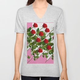 RED LONG STEMMED ROSES & PINK COLOR Unisex V-Neck