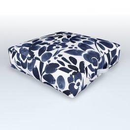 Navy Floral - medium Outdoor Floor Cushion