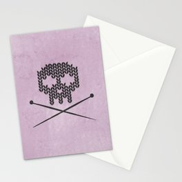 Knitted Skull (Black on Pink) Stationery Cards