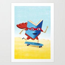 bookhero ride skateboard Art Print