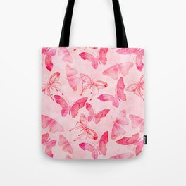 Pink pastel Butterflies allover pattern Tote Bag