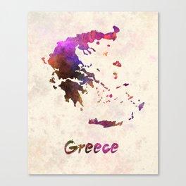 Greece in watercolor Canvas Print