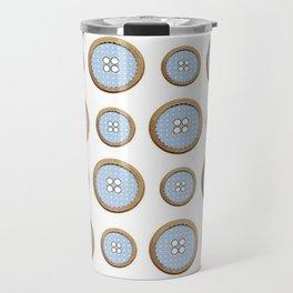 Blue Buttons  Travel Mug