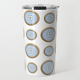 Blue Buttons  Travel Mug